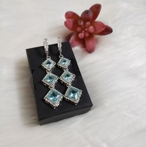 Blue and White Topaz Pageant Prom Earrings